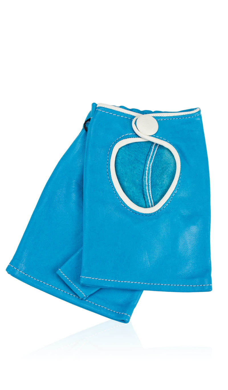 00d6a46cec42 Women glove Sally Lady Fingerless Turquoise White gLOVEme