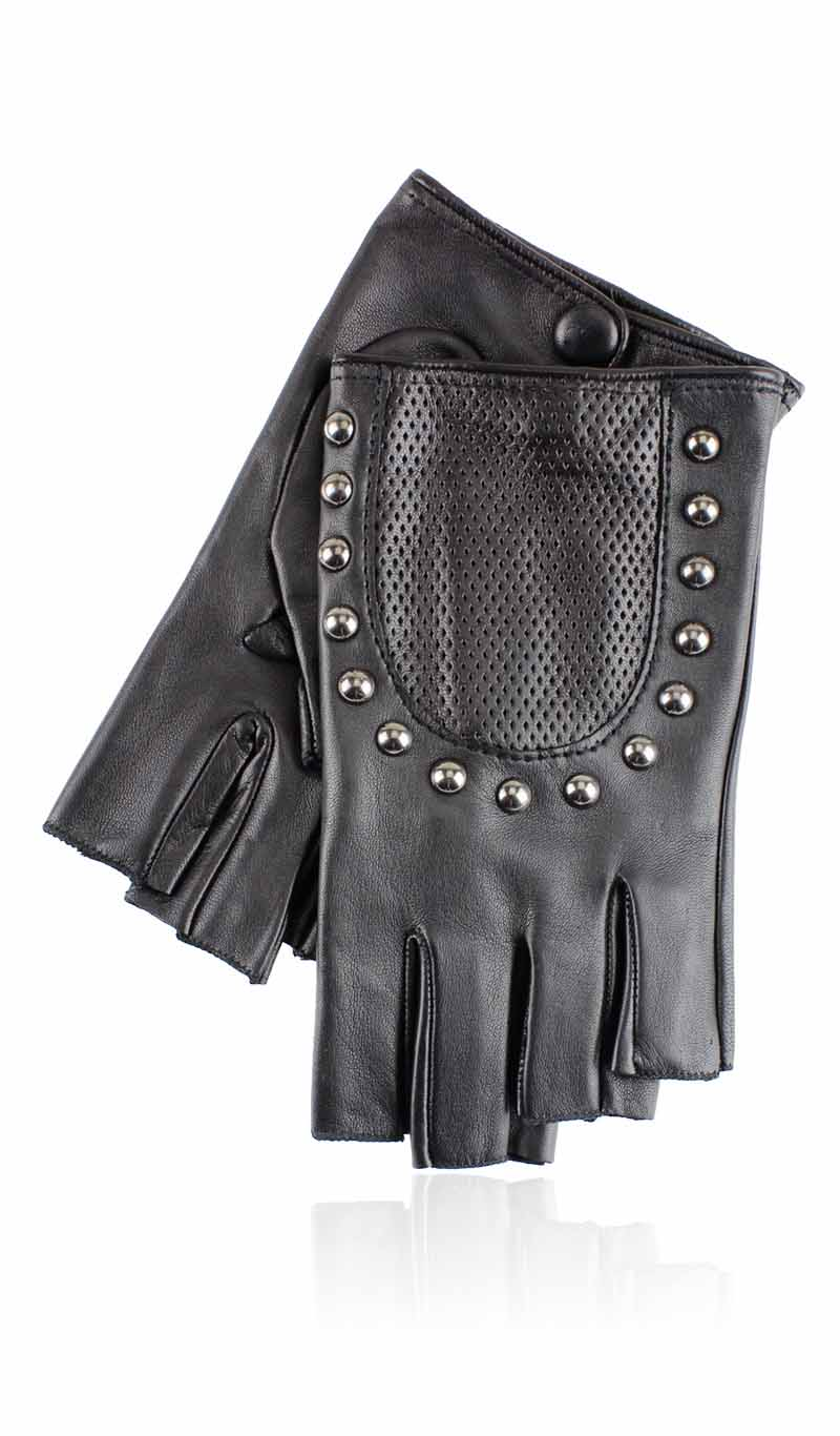 Women glove Charlotte Stud Fingerless Black
