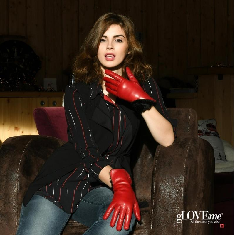 f4bae4196890 Women s Gloves. 3 In. Rabbit Fur Lined. 010006262A 5568. color Black  Spotted White