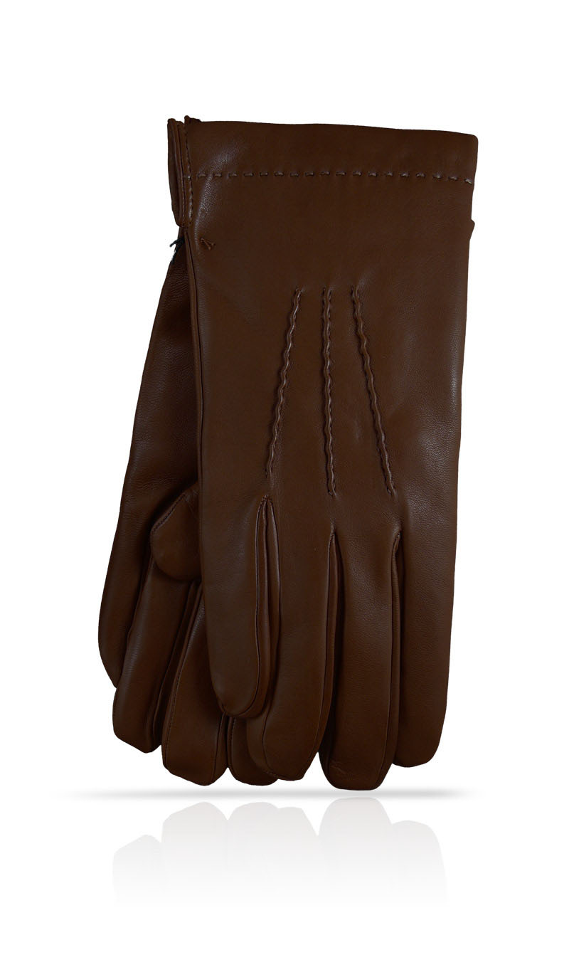Men glove 3C Silk Lined Dark Brown