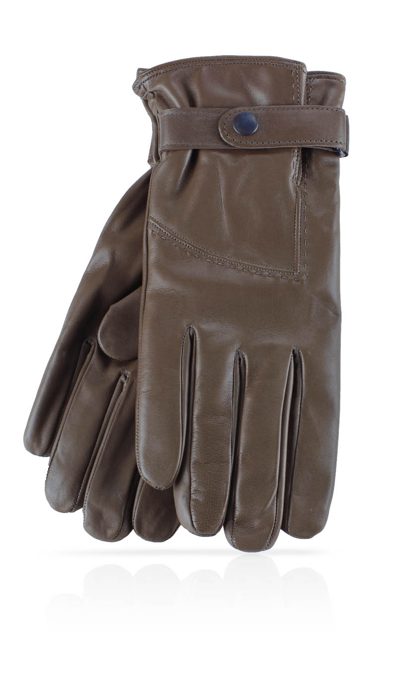 Men glove Strap Cashmere Lined Mud