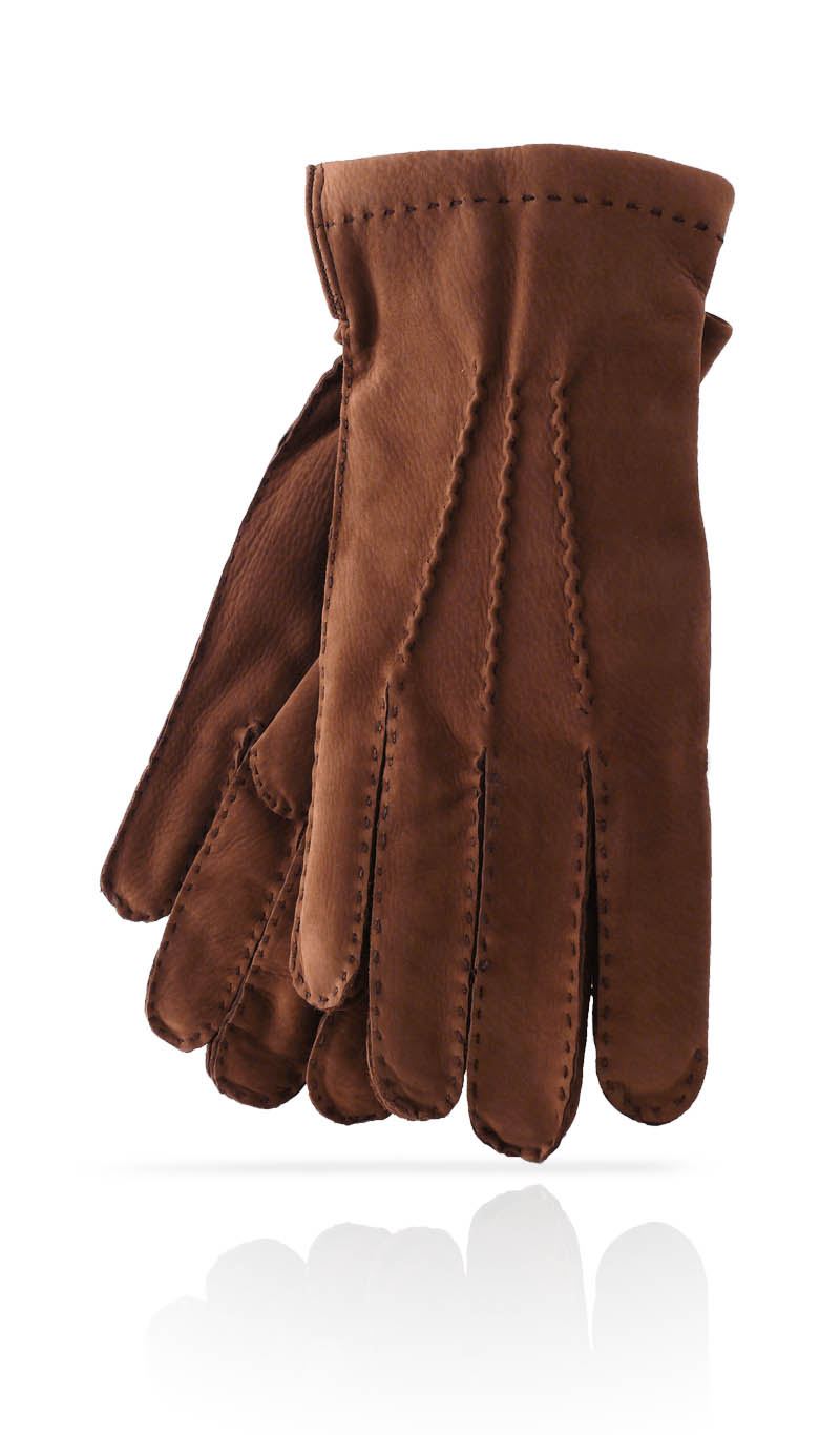 Men glove Nubuck Cashmere Lined Brown