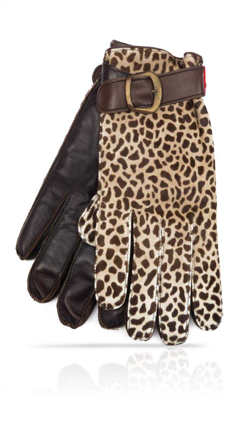 Men glove Haircalf Man Dark Brown/Beige