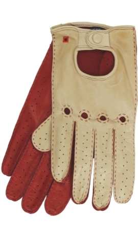Man's Driving Gloves Hand Sewn Desert/Gucci Red
