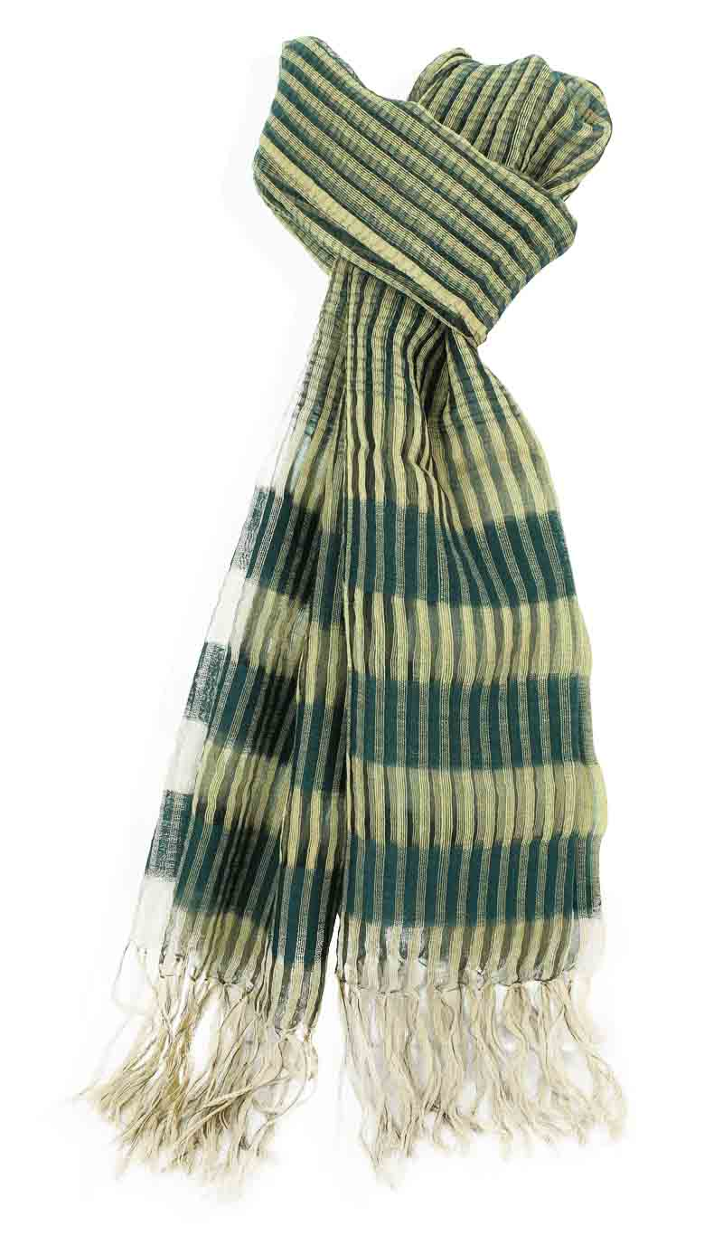 Scarve Silk and Wool Hunter Green/Gold Metallic