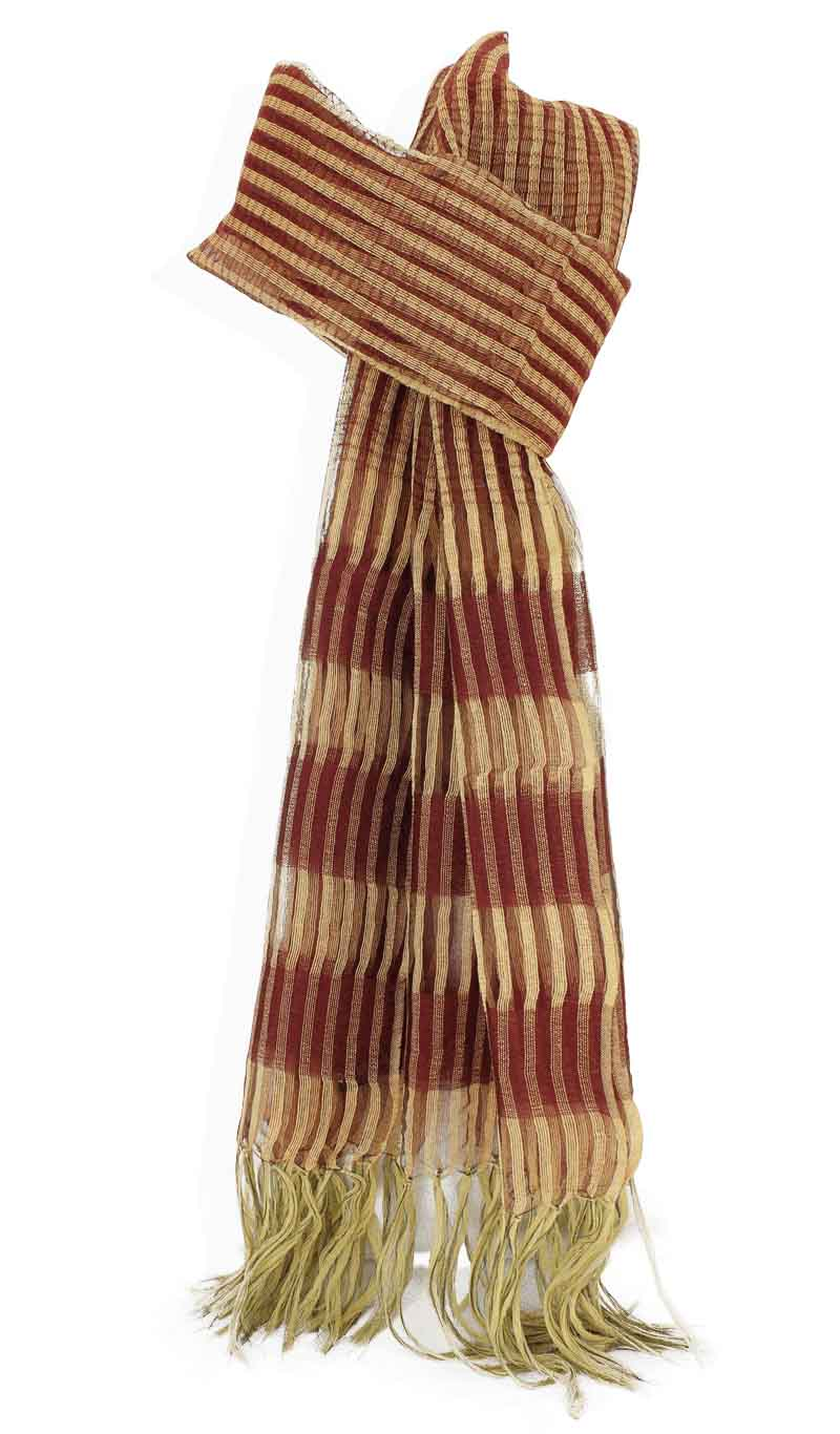 Scarve Silk and Wool Red/Gold Metallic