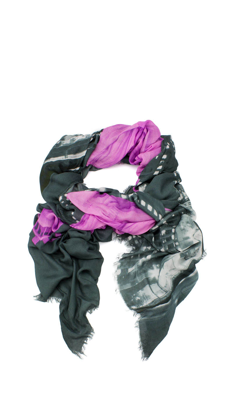 Scarve MISS LIBERTY Grey Steel/Fuchsia