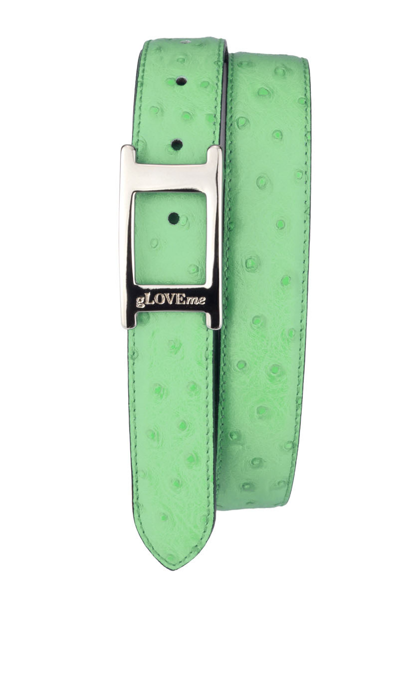 Belt UNIC OSTRICH 3cm Apple Green