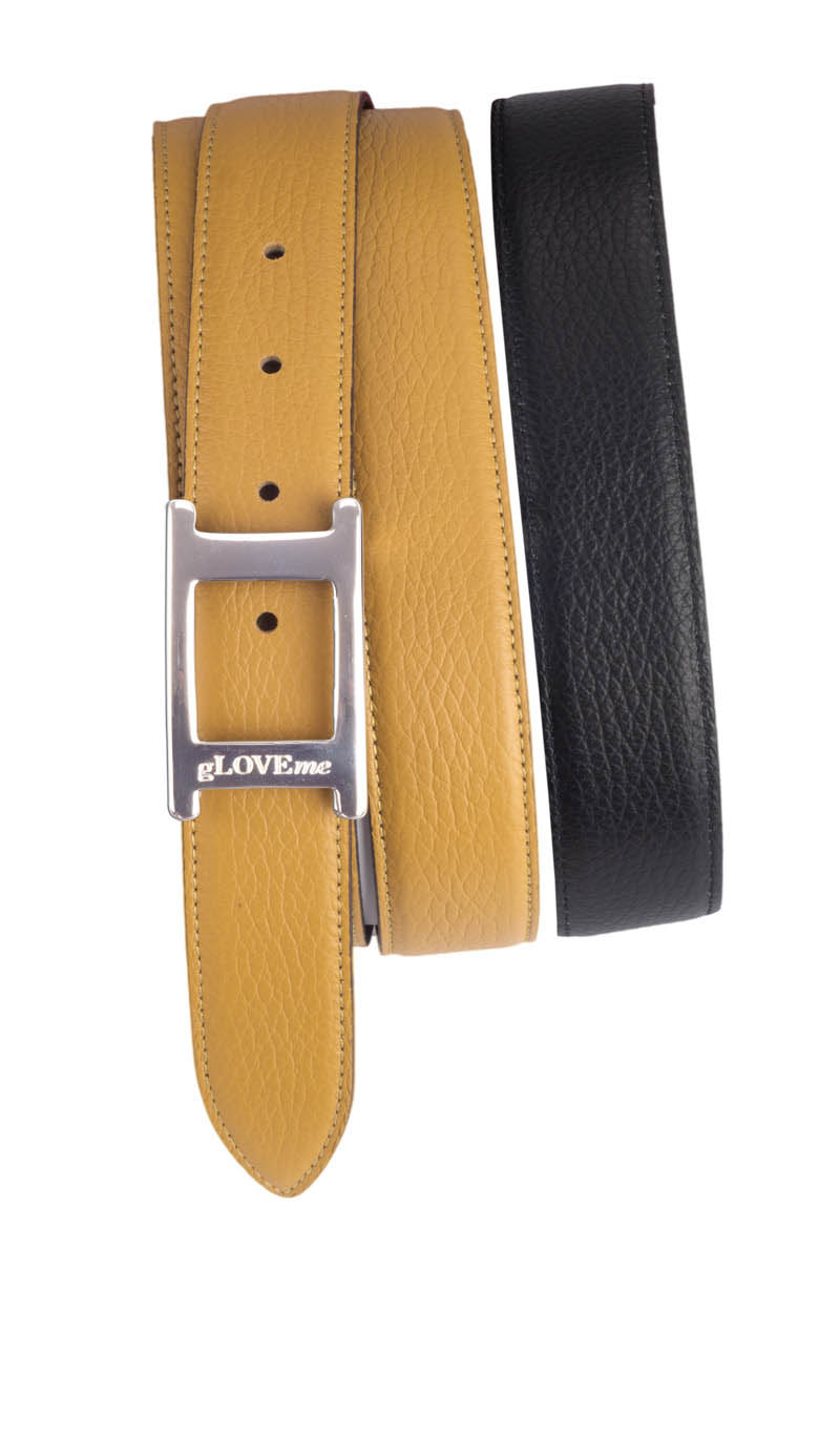 Belt DOUBLE SIDED Biscuit/Black